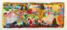 Outside the Gates, 2013 - Acrylic on paper 57 × 139 in 144.8 × 353.1 cm