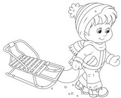sled Free Coloring pages online print. Cat Coloring Page, Coloring Pages For Boys, Coloring Book Pages, Luge, Baby Drawing, Christmas Embroidery, Digital Stamps, Christmas Colors, Colorful Pictures