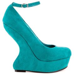 Find the greatness from this unique Luichiny pump.  The Great Lee features a rich emerald suede upper with a sculpted out 5 inch heel and skinny ankle strap.  A 1 1/4 inch platform and rounded toe come together to complete this show stopping look.