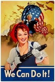Rosie The Riveter We Can Do It Patriotic Pin Up Girl art on metal sign, vintage style home decor wal Vintage Metal Signs, Vintage Ads, Vintage Posters, Vintage Style, Antique Signs, Vintage Glam, Vintage Images, Rosie The Riveter, Ww2 Posters