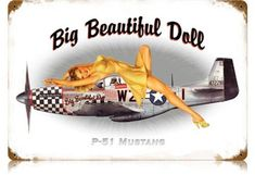 WWII Aircraft P51 Mustang Pin Up Girl Tin Metal Sign - American ...