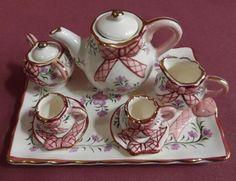 collectable  miniture tea sets | Details about **Collectable miniature ceramic tea set ** New** Bow ...