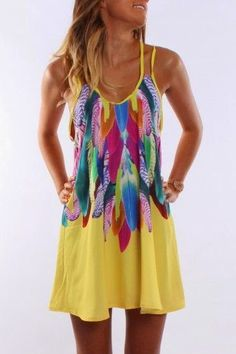 Jean Jail Feather Print Dress