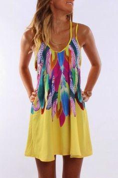 Jean Jail Feather Print Dress