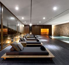 Home gym design interior indoor pools 44 Ideas Spa Design, Design Hotel, Spa Interior Design, Design Loft, Gym Interior, Contemporary Interior, Nail Design, Lounge Design, Design Interiors