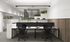 Workstation options - Little Group Office - Mim Design Photography: Peter Clarke Office Space Design, Modern Office Design, Workplace Design, Office Fit Out, Open Office, Cool Office, Australian Interior Design, Interior Design Awards, Corporate Interiors