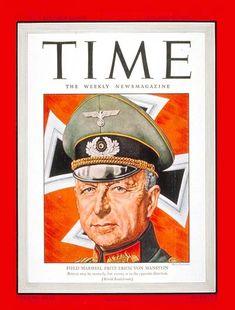 TIME Magazine Cover: Fritz von Manstein - Jan. 10, 1944 - World War II - Germany - Military