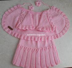 Merhaba mutlu günler.💕💕💕 Azize hanımın siparişlerinin ikincisi etek yelek takımla geldik severek ördüm güzel günlerde kullansınlar inşallah… Crochet Baby Jacket, Crochet Baby Sweaters, Knitted Baby Cardigan, Knit Crochet, Baby Boy Knitting Patterns, Knitting For Beginners, Girls Sweaters, Baby Dress, Clothes Crafts