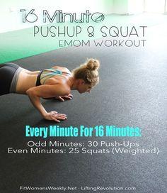 Workout Recap: Killer 16 Minute Push-up #pushups #workout #emom #squats