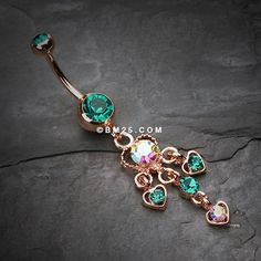 Rose Gold Sparkle Multi Heart Belly Button Ring
