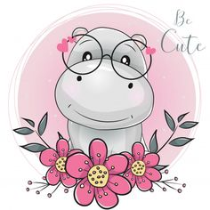Cute Cartoon Hippo With Flowers With Pink Background Stock Vector - Illustration of childbirth, heart: 135326660 Cartoon Hippo, Cartoon Cartoon, Cartoon Heart, Cute Hippo, Baby Hippo, Cute Cartoon Drawings, Animal Drawings, Hippo Drawing, Belly Painting