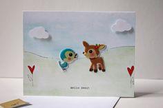 Hello Deer Blue Bird and Copper Deer Friend card by ladybugonaleaf, $3.50