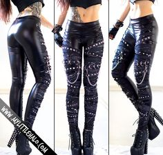 Distressed denim & wet look rock leggings made with glossy black wet look base and distressed denim overlays. A mix of round, cone and pyramid. Band Outfits, Edgy Outfits, Grunge Outfits, Grunge Fashion, Look Fashion, Cool Outfits, Fashion Outfits, Biker Chick Outfit, Wrestling Clothes