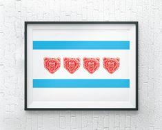 Chicago Bears Art Print by Hello Happy Print Co