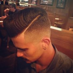 Pomp Fade Hard Part Mens Hairstyles ❤️ Fcsalon.com