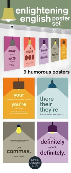 High School or Middle School humorous English language posters about common mistakes in writing. High School and Middle school walls need color too! Enlighten English with this fun poster set! Middle School Posters, Middle School Ela, Middle School English, Punctuation Posters, Grammar And Punctuation, Grammar Humor, Grammar Posters, Writing Posters, Ela Classroom