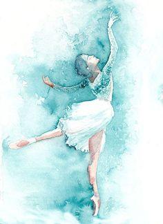 Ballerina Kunstdruck in blau. Ballet Drawings, Dancing Drawings, Art Drawings, Fine Art Photo, Photo Art, Watercolor Print, Watercolor Paintings, Ballerina Kunst, Ballet Wallpaper