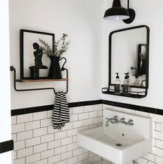 This simple bathroom from makes my heart skip a beat. I love the floating shelf, the black and white tiles and that sink… Simple Bathroom Designs, Bathroom Tile Designs, Modern Bathroom Design, Bathroom Interior Design, Black White Bathrooms, White Bathroom Tiles, Neutral Bathroom, Bathroom Sinks, Black And White Bathroom Ideas
