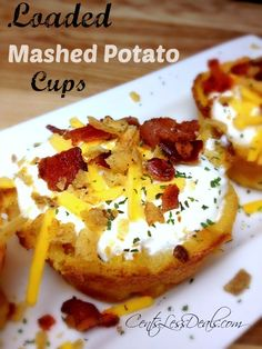 """Like this recipe? """"Pin it"""" by clicking the photo above!! Be sure to follow CentsLessDeals on Pinterest and check out our other great recipes while you're here! These Loaded Mashed Potato Cups are sooo yummy!! I had some leftover mashed potatoes and needed a quick side dish, and the Loaded Mashed Potato Cups idea was …"""