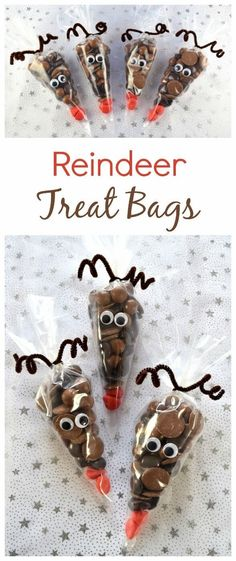 Reindeer Treat Bags - a quick and easy fun homemade gift idea kids can make themselves - perfect for teachers family and friends this Christmas - Eats Amazing UK wedding gifts Fun Christmas Food: Reindeer Treat Bags Christmas Activities, Christmas Crafts For Kids, Christmas Goodies, Xmas Crafts, Christmas Projects, Christmas Sweet Cones, Christmas Wedding Favours, Christmas Gift Boxes, Christmas Eve Box Ideas Kids
