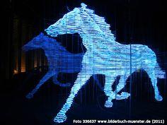 Neonhorse sculpture, Stephan Huber LVM Muenster