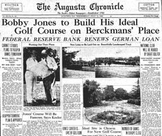 Augusta Chronicle with news of the building of Augusta National