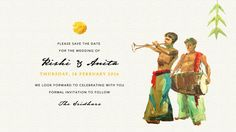 South Indian Wedding Save-the-date card front giving a sneak peek of the festivities to follow with the Kalyana Mélam...