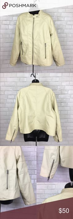Two by Vince Faux Leather Jacket Cream Great condition, some areas have light wrinkles from normal wear. Stitches shoulder detail, vertical zip pockets and zippers on sleeves. Lining is clean and not busted at any seams Two by Vince Camuto Jackets & Coats
