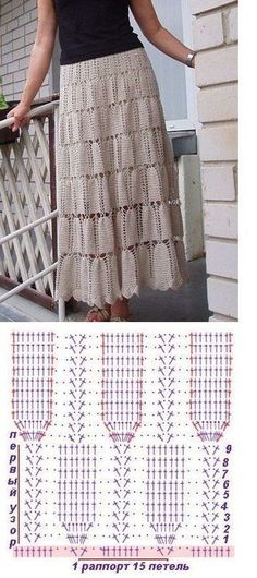 Crochet skirt – simple and elegant and you can make it as open and as long as you want! More Great Looks Like This
