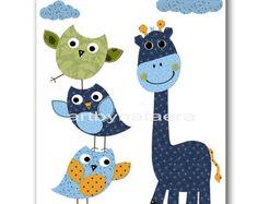 Girafe pépinière hibou pépinière enfants mur Art bébé crèche Decor bébé garçon chambre d'enfant enfants Art bébé chambre Decor crèche imprime bleu bébé vert