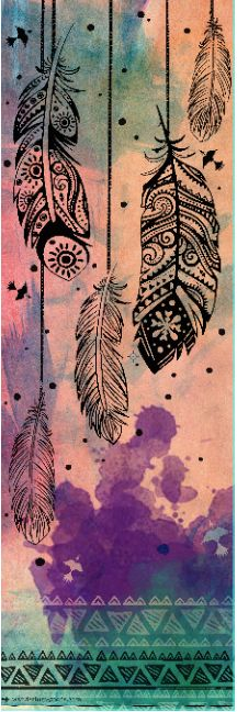 My ethnic feathers and tribal ornaments on a yoga mat