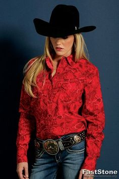 Cruel Girl Button Down Shirt | Cruel Girl Western Shirt Womens Long Sleeve Print XS Red CTW9213002