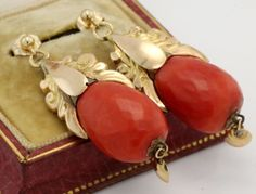 Antique C. 1860 Victorian 18k Yellow Gold Salmon Coral Pineapple Earrings! in Jewelry & Watches, Vintage & Antique Jewelry, Fine, Victorian, Edwardian 1837-1910, Earrings | eBay
