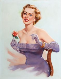 (TED) KUCK (American, d. Sitting Pretty, Brown & Bigelow calendar illustration Oil on canvas board - Available at 2014 May 7 Illustration Art. Beautiful Images, Beautiful Women, Calendar Girls, Pin Up Art, Interesting Faces, Retro Art, Vintage Beauty, Pin Up Girls, Female Art