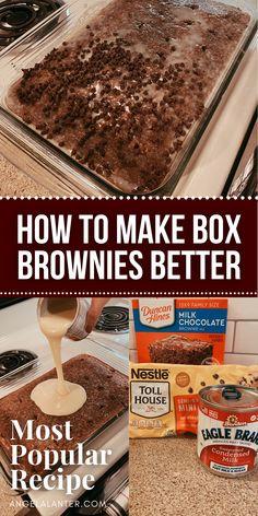 Crack Brownies, Cake Like Brownies, Box Brownies, Easy Brownies, Brownie Desserts, Brownie Recipes, Easy Desserts, Delicious Desserts, Yummy Food