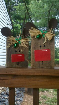 Shirley's recycled scrap wood; reindeer!  Scrap pieces of wood (size your choice) stain, brown foam for ears, sticks for antlers then embelish to your liking.