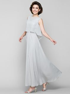 A-line Mother of the Bride Dress - Silver Ankle-length Sleeveless Chiffon - USD $99.99