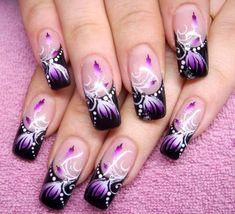 Purple nail art designs by LaTricia Gambrell on Nails Purple Nail Art, Purple Nail Designs, Cute Nail Art Designs, Pretty Nail Art, Beautiful Nail Art, Acrylic Nails Chrome, Best Acrylic Nails, Airbrush Nails, Square Nail Designs