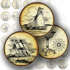 1 inch circle digital collage sheet nautical vintage ship boat sail printable bottle cap glass tile jewelry making