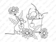 Hand Drawn Stamp Ready to Color Mice by ToadstoolPrintables