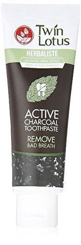Twin Lotus Active Charcoal Toothpaste Herbaliste Triple Action 25g (0.88 Oz) X 1 Tube Mini Try on Test Size