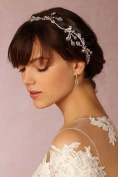clear crystal halo with floral details | Kalvi Halo from BHLDN
