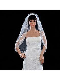 Elefántcsont szín egykapcsos könyékig hosszú menyasszonyi fátyol vel csipke ts130152 - HUF 6513,07Ft