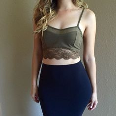 Lace & Mesh Olive Crop Top Lace & Mesh Olive Crop Top. Brand new. Never worn. Available in S-M-L. 55% cotton. 45% polyester. True to size. Model is wearing a small for reference. No Paypal. No trades. 10% discount on all bundles made with the bundle feature. No offers will be considered unless you use the make me an offer feature.     Please follow  Instagram: BossyJoc3y  Blog: www.bossyjocey.com Tops Crop Tops