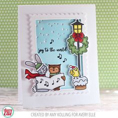 Amy Kolling for Avery Elle Supplies: Caroling Critters Clear Stamps Caroling Critters Elle-ments Falling Snow Elle-ments Postage Stamp Elle-ments