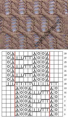 - Puntadas con agujas - Tejer con M . Lace Knitting Stitches, Lace Knitting Patterns, Cable Knitting, Knitting Charts, Knitting Designs, Knitting Projects, Hand Knitting, Stitch Patterns, Lace Patterns