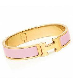 Best Gift of Hermes Enamel Clic H Narrow Bangle Bracelet Pink Gold