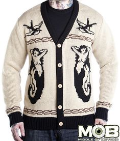 "Nautical Tattoo Cardigan – middleofbeyond ""A collection of classic tattoo and nautical imagery. This is a 5 button cardigan made of 100% acrylic. Cream, black, and tan in color. It is decorated with mermaids, swallows, a tall ship and eagle."" $80"
