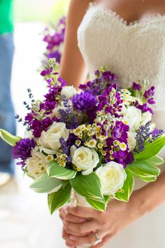 Deployed Groom Comes Home to Beautiful Farm Wedding - White and purple bouquet: www. Purple And Green Wedding, Purple Wedding Bouquets, Bride Bouquets, Bridesmaid Bouquet, Floral Wedding, Flower Bouquets, Wedding White, Purple Style, Boquet