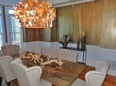 Modern Masters Metallic Paint on Dining Room Walls | Oxidized Metallic Drip Finish by Tobey Renee Sanders of FauxDecor